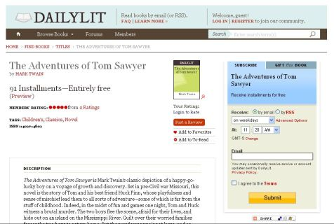 DailyLit.com book description page (<em>The Adventures of Tom Sawyer</em>)