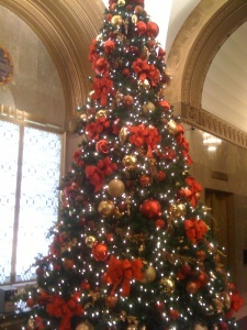 The Christmas tree in the lobby of the building where I work.