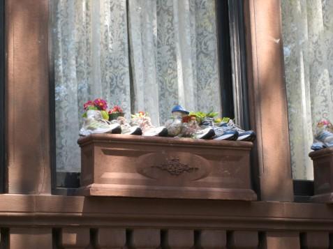 Sneakers as flower planters