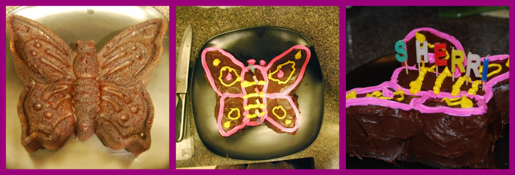 Butterfly cake collage